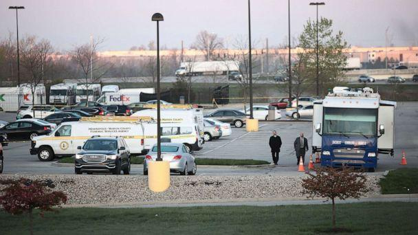PHOTO: Indianapolis police work the crime scene at a FedEx facility where a gunman had opened fire, in Indianapolis, April 16, 2021. (Mark Lyons/EPA via Shutterstock)