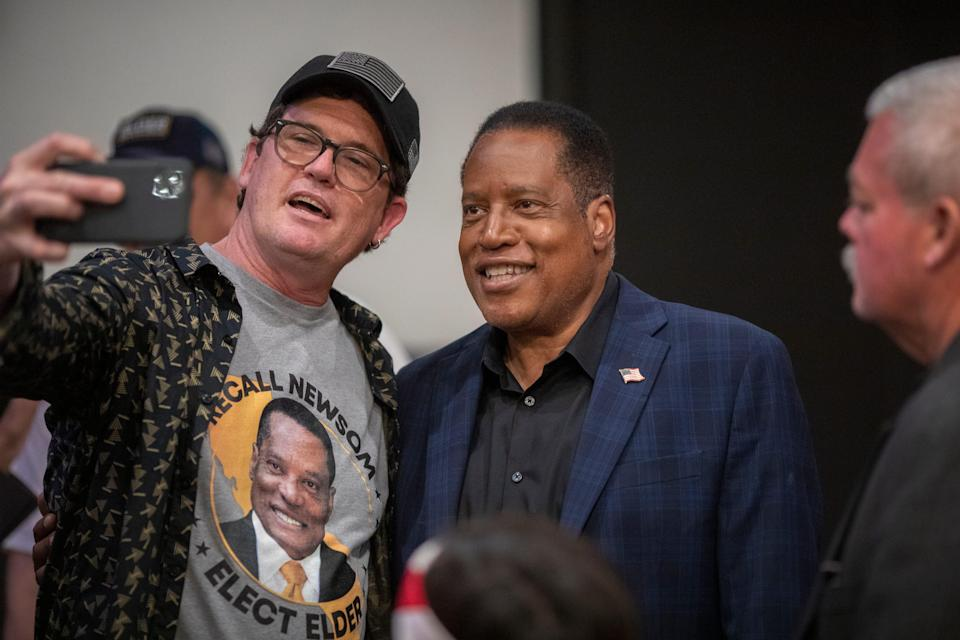 Larry Elder at a town hall event on Sept. 9, 2021, in Downey, Calif.