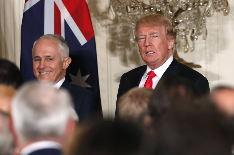 Australian Prime Minister Malcolm Turnbull (left) and President Donald Trump at the White House on February 23, 2018. (Jonathan Ernst / Reuters)