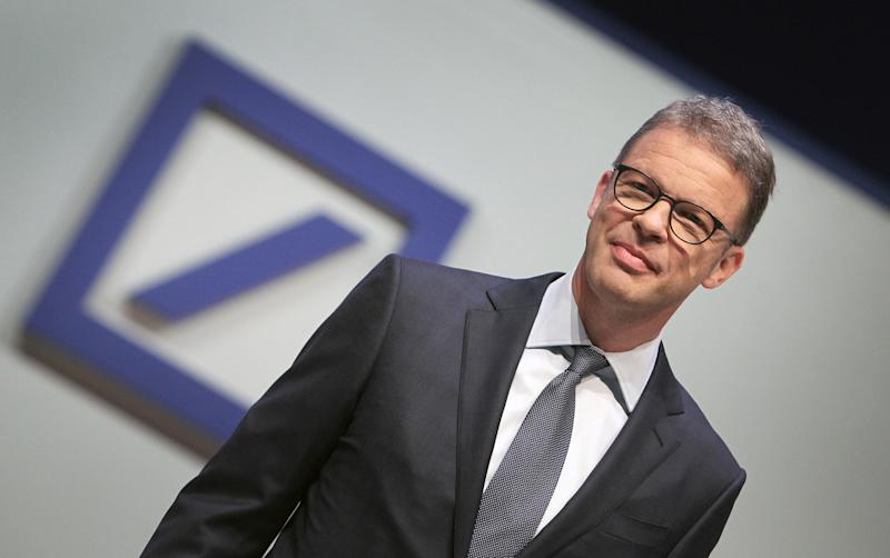 Christian Sewing, CEO of German bank Deutsche Bank, is pictured during the company's annual general meeting in Frankfurt am Main, western Germany, on May 23, 2019. - Deutsche Bank executives face angry shareholders at the annual general meeting when their names could be added to a growing list of top managers denied investor backing, according to media reports and insiders. (Photo by Daniel ROLAND / AFP) (Photo credit should read DANIEL ROLAND/AFP/Getty Images)