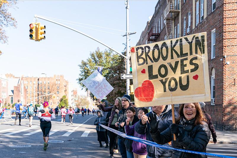 A fan showing a sign that Brooklyn loves you during 2019 TCS New York City Marathon in New York City on Nov. 3, 2019 in New York City. (Photo: Michael Molzar/SEPA.Media /Getty Images)