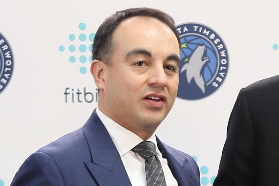 FILE - In this Feb. 7, 2020, file photo, Minnesota Timberwolves President of Basketball Operations Gersson Rosas poses during an NBA basketball news conference in Minneapolis. The Timberwolves have fired Rosas on Wednesday, Sept. 22, 2021, a move comes less than a week before training camp. Rosas spent just two seasons on the job, becoming, the first Latino to run an NBA team when he was hired by the Timberwolves in May 2019. (AP Photo/Jim Mone)