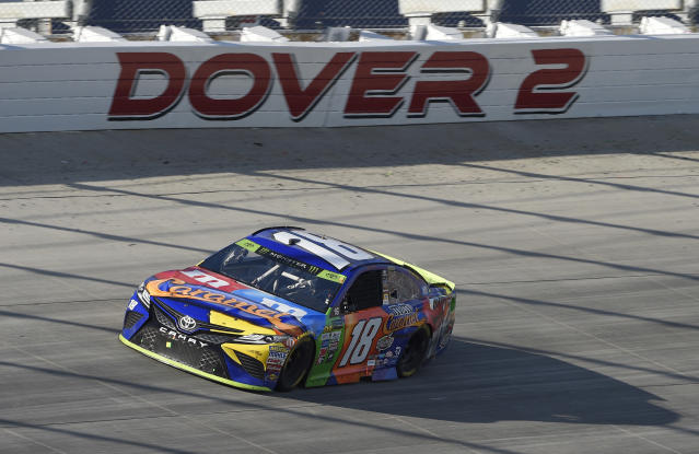 Kyle Busch competes during the NASCAR Cup Series auto race, Sunday, Oct. 1, 2017, at Dover International Speedway in Dover, Del. (AP Photo/Nick Wass)