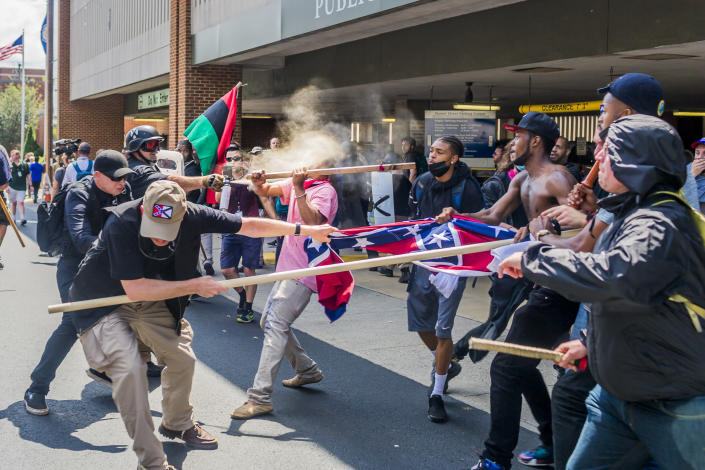 "A veritable who's-who of white supremacist groups clashed with hundreds of counterprotesters during the ""Unite the Right"" rally in Charlottesville, Va., on Aug. 12, 2017. (Photo: Michael Nigro/Pacific Press/LightRocket via Getty Images)"