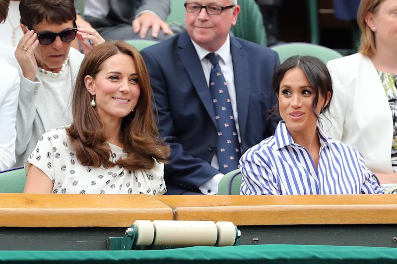 LONDON, ENGLAND - JULY 14: Mens Singles, Semi-Final - Rafael Nadal v Novak Djokovic - Kate Middleton, Duchess of Cambridge and Meghan Markle, Duchess of Sussex at All England Lawn Tennis and Croquet Club on July 14, 2018 in London, England. (Photo by Charlotte Wilson/Offside/Getty Images)
