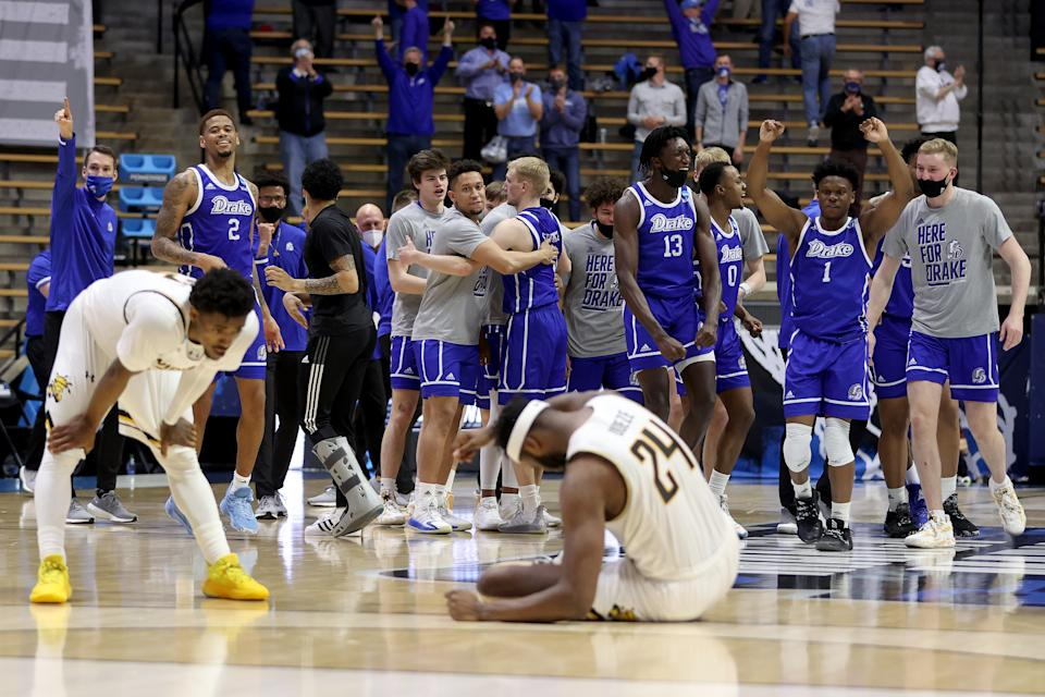 The Drake Bulldogs celebrate after defeating the Wichita State Shockers in the First Four game prior to the NCAA Men's Basketball Tournament at Mackey Arena on March 18, 2021 in West Lafayette, Indiana. (Photo by Gregory Shamus/Getty Images)