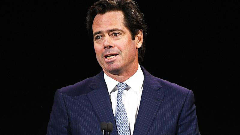 Gillon McLachlan, pictured here speaking to the media ahead of the 2020 season.