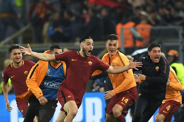 Kostas Manolas (C) is best-remembered at Roma for his late winner against Barcelona (AFP Photo/LLUIS GENE)