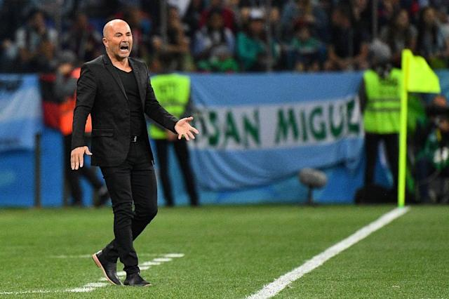 Stay of execution: Jorge Sampaoli's job as Argentina coach was in doubt after a 3-0 defeat to Croatia (AFP Photo/Johannes EISELE)