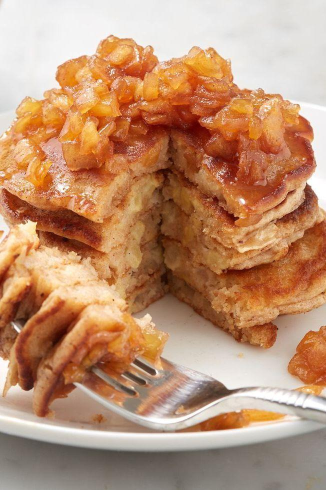 "<p>There's nothing like a fresh stack of <a href=""https://www.delish.com/uk/cooking/recipes/a30452165/pancake-recipe/"" rel=""nofollow noopener"" target=""_blank"" data-ylk=""slk:pancakes"" class=""link rapid-noclick-resp"">pancakes</a> on a weekend morning, and these may just be our new favourite. Topped with a sticky, cinnamon-scented apple compote, we don't even need maple syrup.</p><p>Get the <a href=""https://www.delish.com/uk/cooking/recipes/a32694224/apple-pancakes-recipe/"" rel=""nofollow noopener"" target=""_blank"" data-ylk=""slk:Spiced Apple Pancakes"" class=""link rapid-noclick-resp"">Spiced Apple Pancakes</a> recipe.</p>"