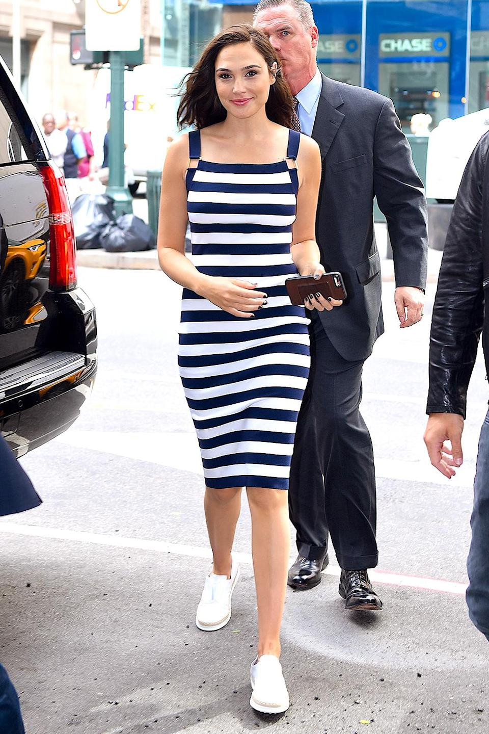 <p>The actress sported a nautical-inspired dress on a busy day of interviews in Manhattan. So, yeah, she wore sneakers! (Photo: Robert Kamau/GC Images) </p>