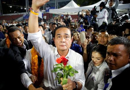 Thailand's Prime Minister Prayut Chan-o-cha attends the Palang Pracharath Party's party campaign rally in central Bangkok, Thailand, March 22, 2019. REUTERS/Soe Zeya Tun
