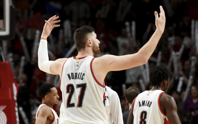 "<a class=""link rapid-noclick-resp"" href=""/nba/players/5327/"" data-ylk=""slk:Jusuf Nurkic"">Jusuf Nurkic</a> should be at the center of any conversation about the Trail Blazers this season. (AP)"