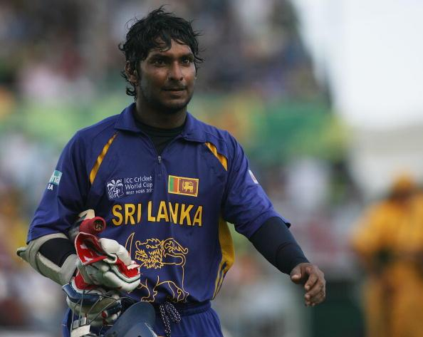 BRIDGETOWN, BARBADOS - APRIL 28:  Kumar Sangakkara of Sri Lanka leaves the field after being dismissed during the ICC Cricket World Cup Final between Australia and Sri Lanka at the Kensington Oval on April 28, 2007 in Bridgetown, Barbados.  (Photo by Hamish Blair/Getty Images)