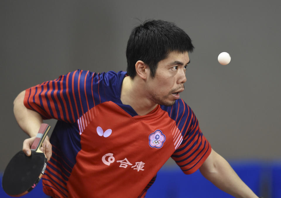 DOHA, March 6, 2020 -- Chuang Chih-Yuan of Chinese Taipei serves during the men's singles round of 16 match against Uda Yukiya of Japan at 2020 ITTF Qatar Open in Doha, Qatar on March 6, 2020. (Photo by Nikku/Xinhua via Getty) (Xinhua/ via Getty Images)