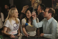 """This image released by Netflix shows Iliza Shlesinger, from left, Margaret Cho and Ryan Hansen in a scene from """"Good On Paper."""" (Alex Lombardi/Netflix via AP)"""