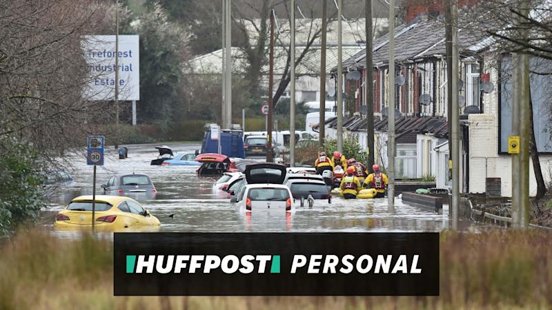 Flooding in Nantgarw, Wales, the author's hometown (Photo: HuffPost UK)