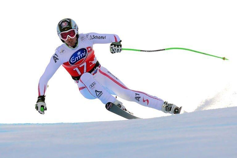 Austria's Hannes Reichelt competes during the men's World Cup downhill in Bormio, Italy, on December 29, 2012