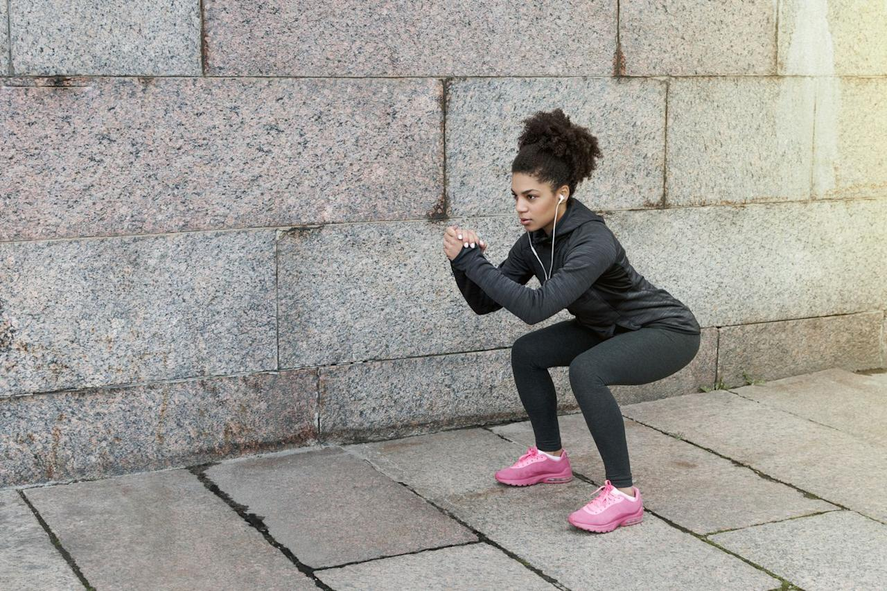 """<p><strong>Targets: </strong>Y<strong></strong>our <a rel=""""nofollow"""" href=""""https://www.prevention.com/fitness/a20516301/exercises-to-tone-buttocks-thighs/"""">glutes</a>, which are crucial for an efficient run, says Corkum.</p><p><strong>How to: </strong><strong></strong>Stand with your with just outside hip-width apart. Send hips down and back, keeping your weight in your heels. Aim to get low enough that your hips are below knees. Push off heels to stand back up and repeat.</p>"""