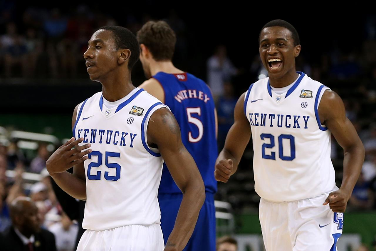 (R) Doron Lamb #20 of the Kentucky Wildcats reacts in the first half behind teammate Marquis Teague #25 against the Kansas Jayhawks in the National Championship Game of the 2012 NCAA Division I Men's Basketball Tournament at the Mercedes-Benz Superdome on April 2, 2012 in New Orleans, Louisiana. (Photo by Jeff Gross/Getty Images)