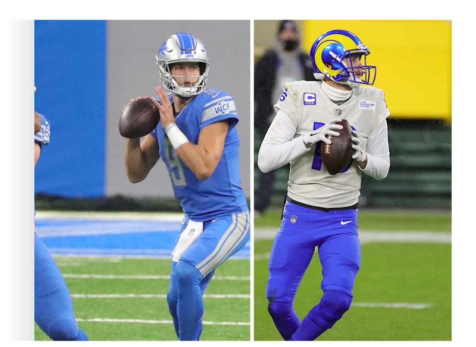 Matthew Stafford, left, was dealt to the Los Angeles Rams for Jared Goff and three draft picks. The Lions get two future first-round picks.