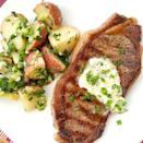 """<p>Weeknights taste better with French bistro style steak and potatoes on the menu.</p><p>Get the recipe from <a href=""""https://www.delish.com/cooking/recipe-ideas/recipes/a43368/grilled-steaks-garlic-chive-butter-french-style-potato-salad-recipe/"""" rel=""""nofollow noopener"""" target=""""_blank"""" data-ylk=""""slk:Delish"""" class=""""link rapid-noclick-resp"""">Delish</a>.</p>"""