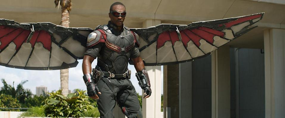 """<p>Captain America's wingman (sorry!) isn't quite sure about former adversary the Winter Soldier, but Falcon has absolute confidence in Cap. This movie also introduces Falcon's """"Redwing"""" drone, a nod to the hero's bird of prey from the comics. <i>(Photo: Disney)</i></p>"""