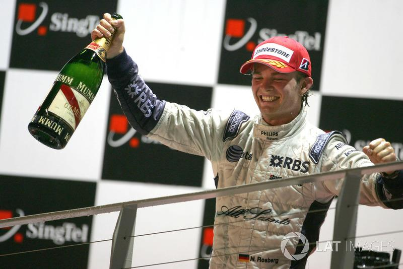 "Nico Rosberg, Williams on the podium<span class=""copyright"">Sutton Images</span>"