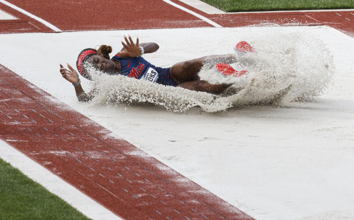 Mississippi's Kieshonna Brooks competes in the women's long jump finals during the NCAA Division I Outdoor Track and Field Championships, Thursday, June 10, 2021, at Hayward Field in Eugene, Ore. (AP Photo/Thomas Boyd)