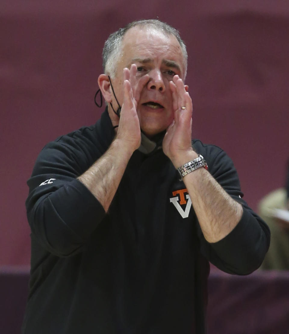 Virginia Tech head coach Mike Young reacts in the first half of an NCAA college basketball game against Longwood in Blacksburg, Va., Monday, Dec. 21, 2020. (Matt Gentry/The Roanoke Times via AP, Pool)