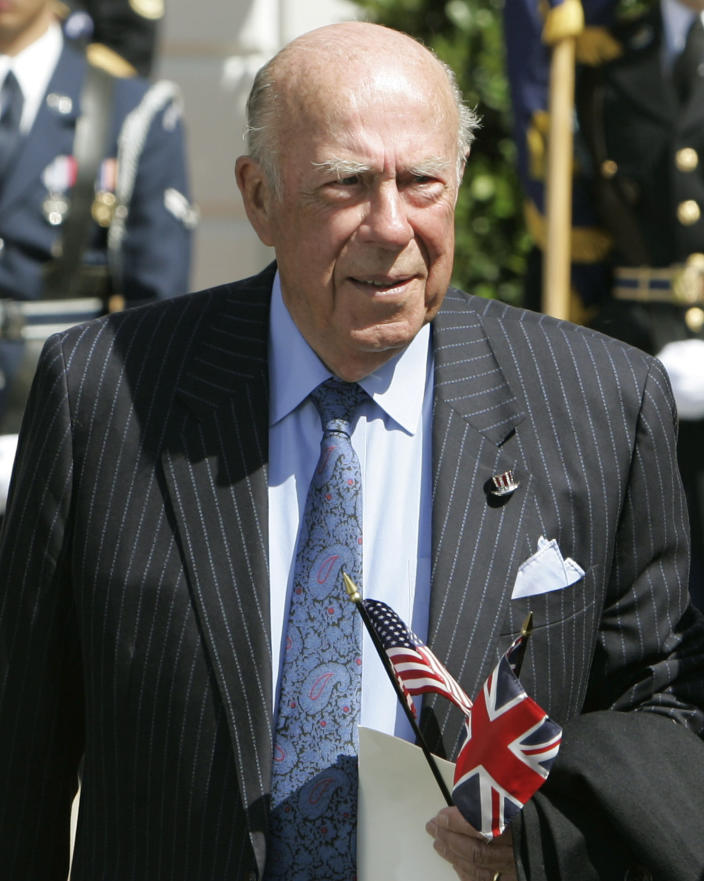 FILE - In this May 7, 2007 file photo, former Secretary of State George Schultz arrives to watch Queen Elizabeth II take part in arrival ceremonies on the South Lawn of the White House in Washington. Shultz, former President Ronald Reagan's longtime secretary of state, who spent most of the 1980s trying to improve relations with the Soviet Union and forging a course for peace in the Middle East, died Saturday, Feb. 6, 2021. He was 100. (AP Photo/Ron Edmonds, File)