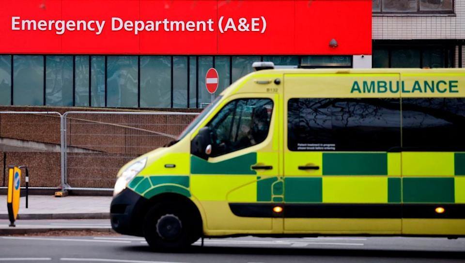 <p>An ambulance at the Emergency Department at St Thomas' Hospital, London , where Boris Johnson was treated for Covid-19</p> (AFP via Getty Images)