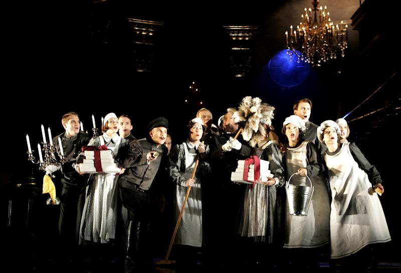 """FILE--In this photo from Saturday, Sept. 18, 2006, ensemble members perform during a dress rehearsal for the musical """"Rebecca"""" at Vienna's Raimund Theatre. The play's Broadway production in New York collapsed this week, launching a FBI fraud investigation of the circumstances.  (AP Photo/Stephan Tirerenberg, File)"""