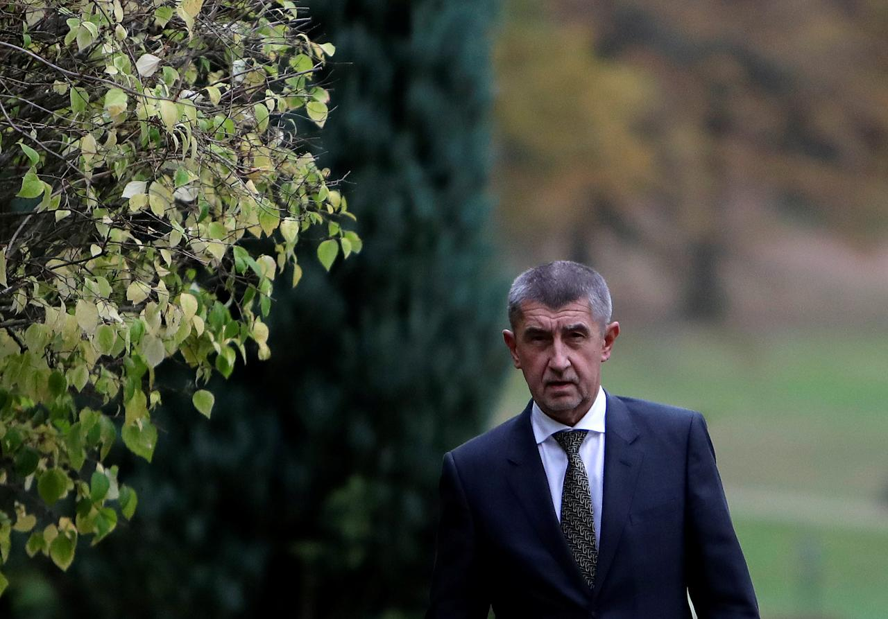 The leader of ANO party Andrej Babis leaves the Lany chateau after meeting with President Milos Zeman following the country's parliamentary elections in the village of Lany near Prague, Czech Republic October 23, 2017. REUTERS/David W Cerny