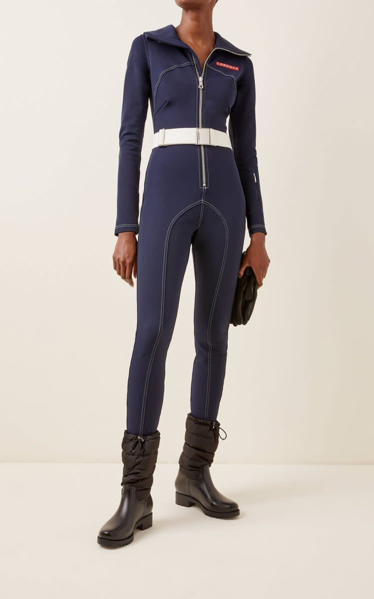 <p>This <span>Cordova Le Arcs Stretch-Jersey Ski Suit</span> ($980) is what we want to wear on the slopes.</p>