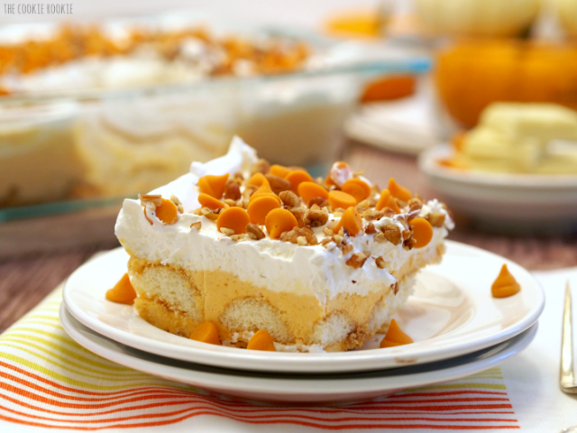 """<p>Standard pumpkin pie doesn't even stand a chance against this fluffy layered confection. </p><p><a rel=""""nofollow noopener"""" href=""""http://www.thecookierookie.com/pumpkin-pie-dessert-lasagna/"""" target=""""_blank"""" data-ylk=""""slk:Get the recipe from The Cookie Rookie »"""" class=""""link rapid-noclick-resp"""">Get the recipe from The Cookie Rookie »</a><br></p>"""