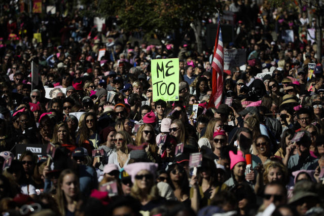 <p>Protesters gather at the Grand Park for a Women's March against sexual violence and the policies of the Trump administration Saturday, Jan. 20, 2018, in Los Angeles, Calif. (Photo: Jae C. Hong/AP) </p>