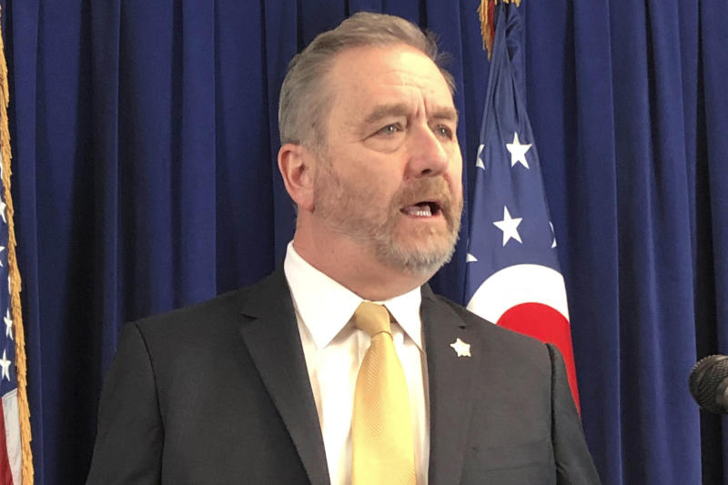 """FILE - In this Feb. 20, 2020 file photo, Ohio Attorney General Dave Yost, speaks in Columbus, Ohio, Without major changes in almost every state, a national police misconduct database like what the White House and Congress have proposed after George Floyd's death would fail to account for thousands of problem officers.""""I think the politicians have been reluctant to take a step that might be perceived as anti-police,"""" Ohio Attorney General Dave Yost said. (AP Photo/Julie Carr Smyth, File)"""