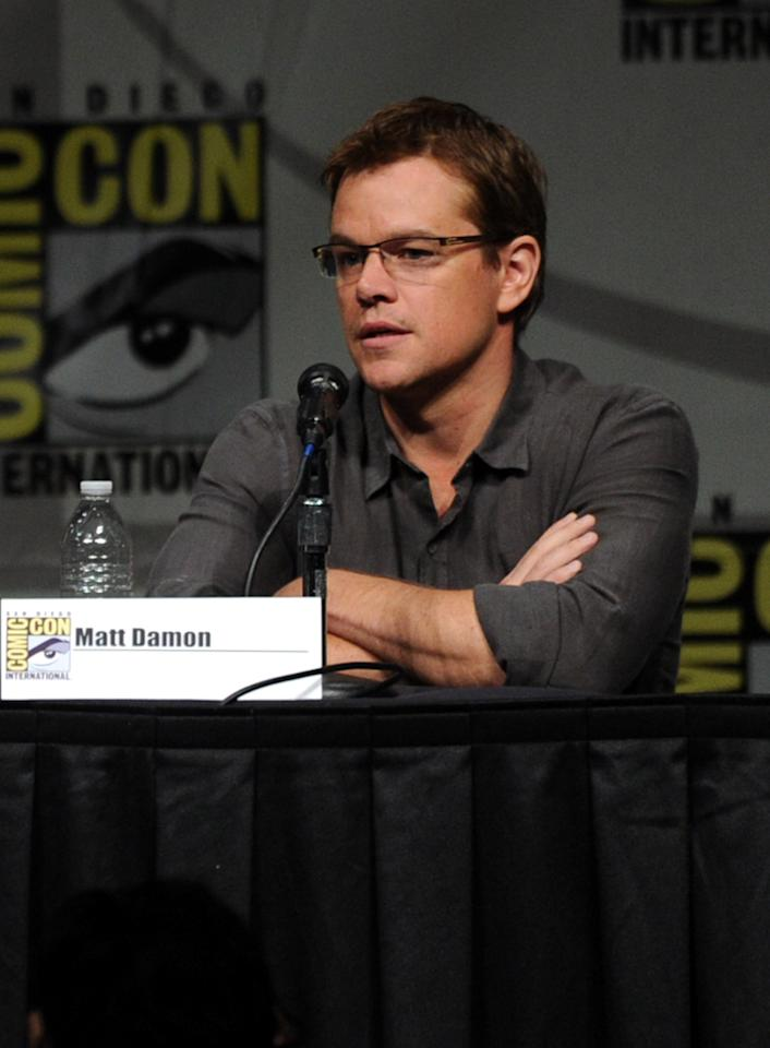 "SAN DIEGO, CA - JULY 13:  Actor Matt Damon speaks during Sony's ""Eylsium"" panel during Comic-Con International 2012 at San Diego Convention Center on July 13, 2012 in San Diego, California.  (Photo by Kevin Winter/Getty Images)"