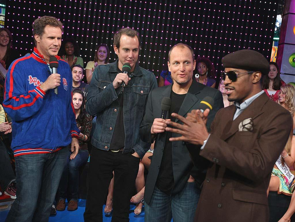 """The stars of """"Semi-Pro,"""" Will Farrell, Will Arnett, Woody Harrelson, and Andre Benjamin cause a ruckus as they chat about their new comedy, which debuts in theaters this coming Friday. Theo Wargo/<a href=""""http://www.wireimage.com"""" target=""""new"""">WireImage.com</a> - February 25, 2008"""
