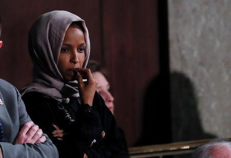 FILE PHOTO: U.S. Rep. Ilhan Omar (D-MN) looks on prior to an address by NATO Secretary General Jens Stoltenberg to a joint meeting of Congress in the House Chamber on Capitol Hill in Washington, U.S., April 3, 2019. REUTERS/Carlos Barria