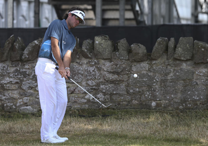 Bubba Watson of the United States plays a shot on the 8th hole during a practice round ahead of the British Open Golf Championship at Muirfield, Scotland, Tuesday July 16, 2013. (AP Photo/Scott Heppell)