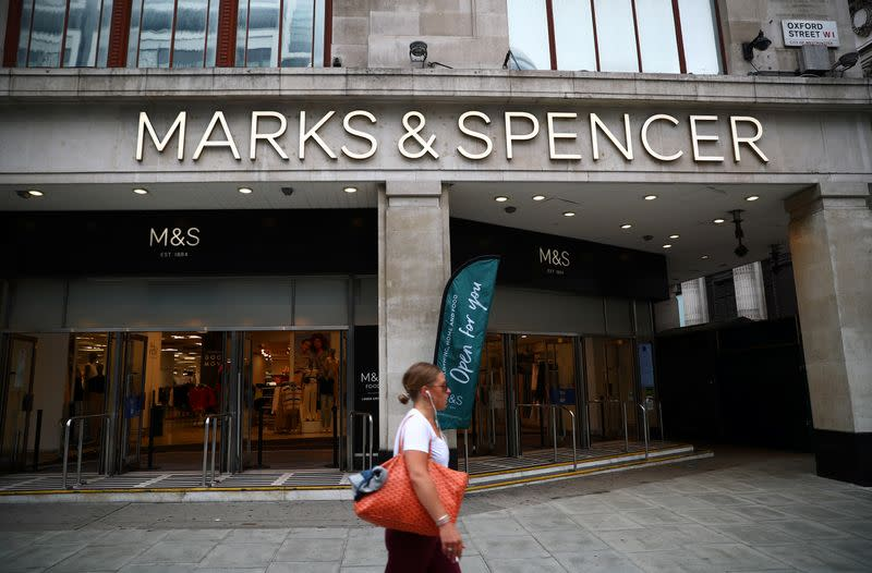 Entrance to a Marks and Spencer store is pictured at the Oxford Street, in London