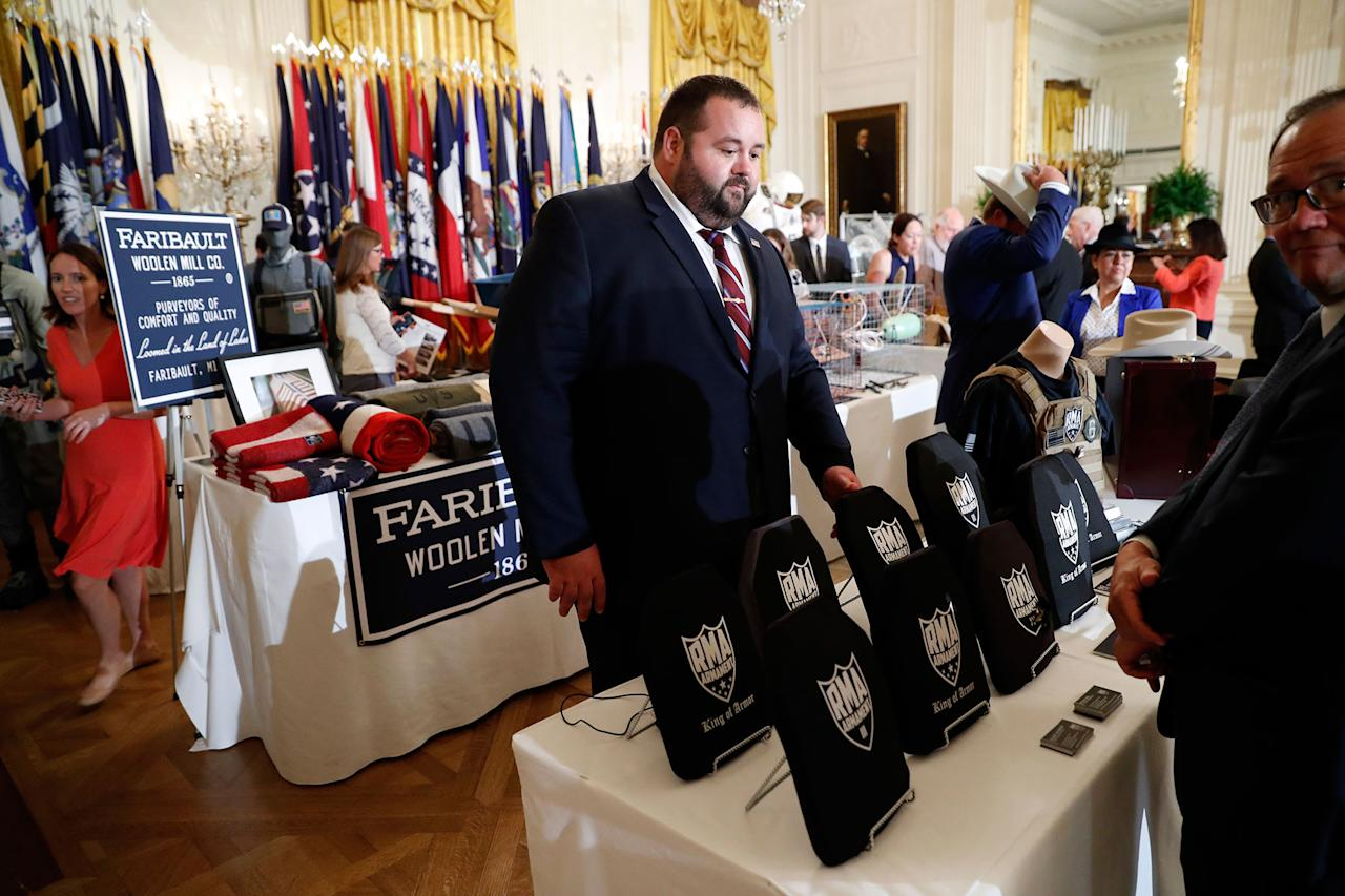 "<p>Items are displayed during a ""Made in America,"" product showcase featuring items created in each of the U.S. 50 states, Monday, July 17, 2017, in the East Room of the White House in Washington. (AP Photo/Alex Brandon) </p>"