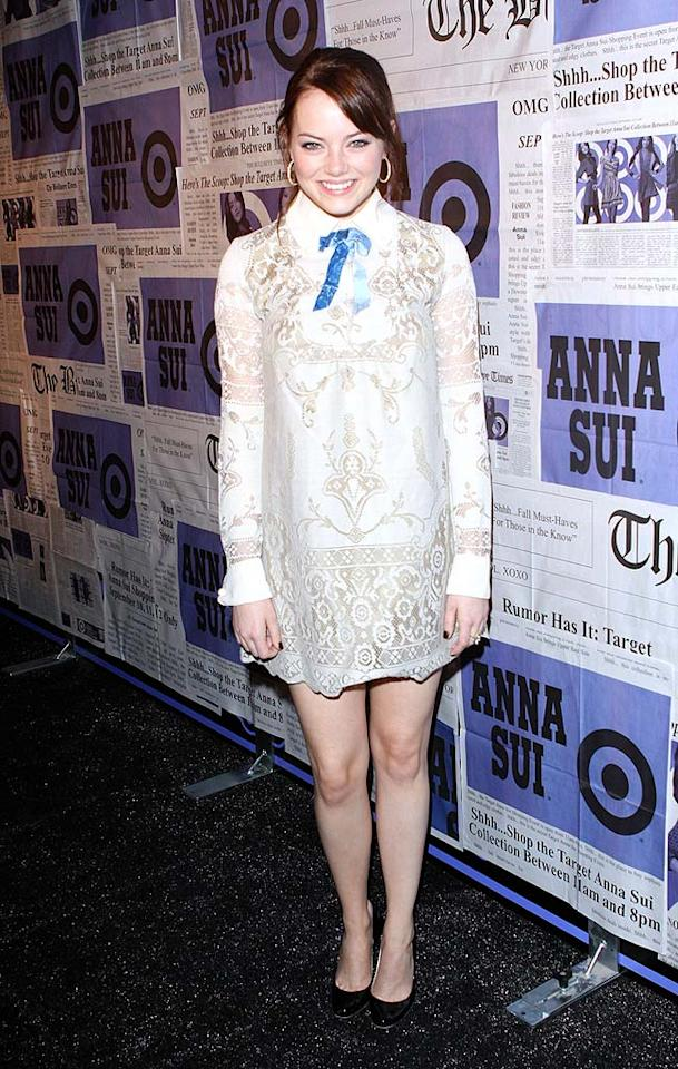"Emma Stone is adorable. Her doily-inspired dress from Anna Sui's new ""Gossip Girl"" clothing collection, however, is a DISASTER. Richie Buxo/<a href=""http://www.splashnewsonline.com"" target=""new"">Splash News</a> - September 9, 2009"