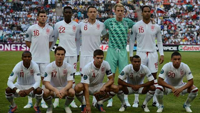 <p>The Three Lions secured their qualification for Euro 2012, finishing top of their group after an unbeaten campaign. They drew 2-2 with Montenegro in their final game with this starting 11:</p> <br><p>Joe Hart, Phil Jones, Ashley Cole, Scott Parker, Gary Cahill, John Terry, Theo Walcott, Gareth Barry, Darren Bent, Wayne Rooney and Ashley Young.</p> <br><p>They began the tournament with a narrow 1-1 draw with France and made six changes to the side which ended their qualification campaign. Out went Jones, Cahill, Walcott, Barry, Bent and Rooney, and in came Glen Johnson, Steven Gerrard, Joleon Lescott, James Milner, Alex Oxlade-Chamberlain and Danny Welbeck.</p> <br><p>It proved to be yet another disappointing tournament for England after they were dumped out on penalties by eventual finalists Italy at the quarter-final stage.</p>