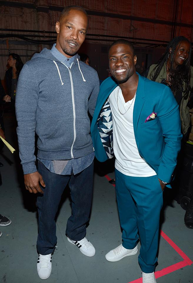 CULVER CITY, CA - JUNE 08:  Actor Jamie Foxx (L) and comedian Kevin Hart attend the 2013 Spike TV Guys Choice at Sony Pictures Studios on June 8, 2013 in Culver City, California.  (Photo by Kevin Mazur/WireImage)