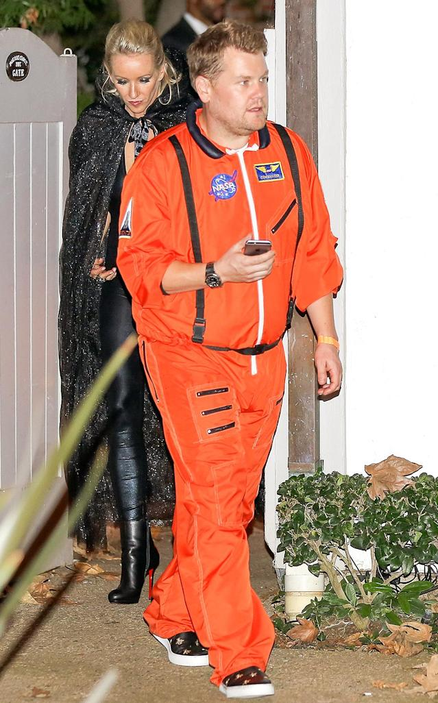 <p>The late-night host is always playing dress-up for his show, but kept things relatively simple for Hudson's Halloween shindig in his space suit. (Photo: AKM-GSI) </p>