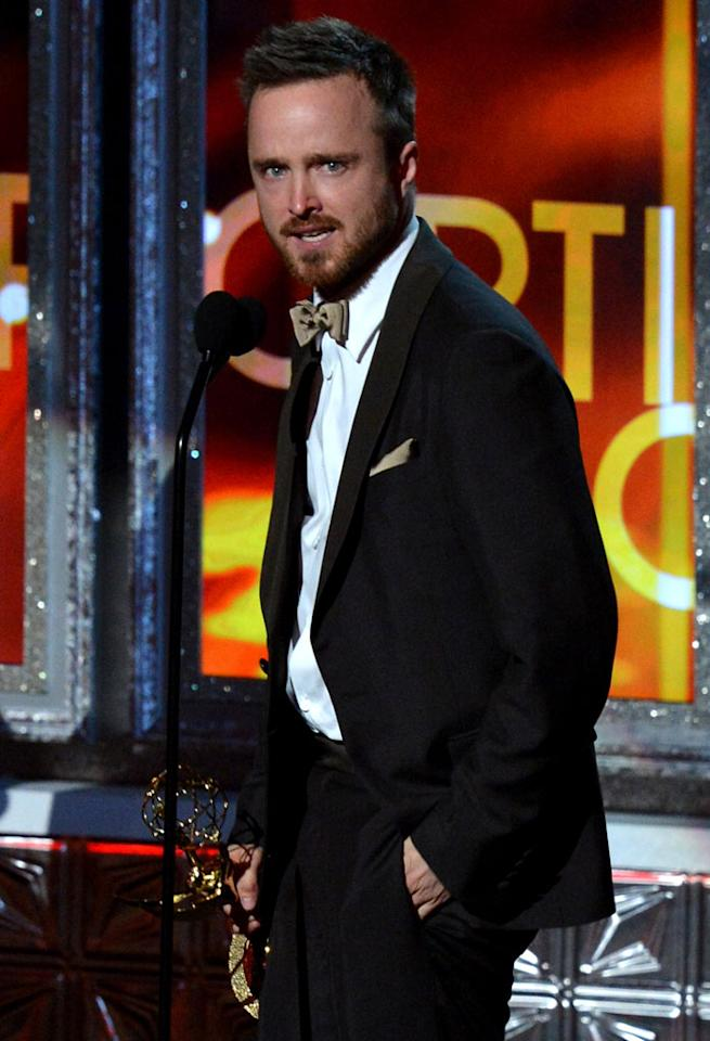 Aaron Paul onstage at the 64th Primetime Emmy Awards at the Nokia Theatre in Los Angeles on September 23, 2012.
