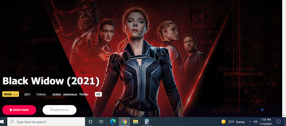 Wake up, Disney: piracy sites are offering 'Black Widow' for free. - Credit: Disney